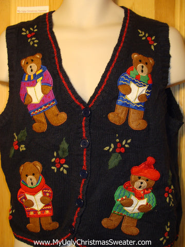Tacky Ugly Christmas Sweater Vest with Carolling Bears (f328)