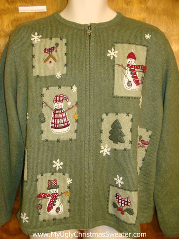 Pea Green Tacky Ugly Christmas Sweater