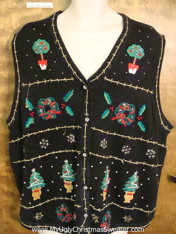 Greenery Themed Horrible Ugly Christmas Sweater Vest