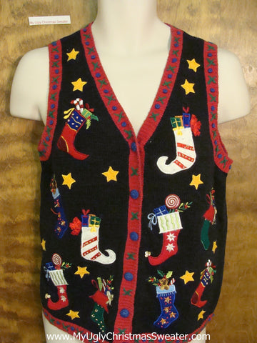Scary Pointy Stockings Ugly Christmas Sweater Vest