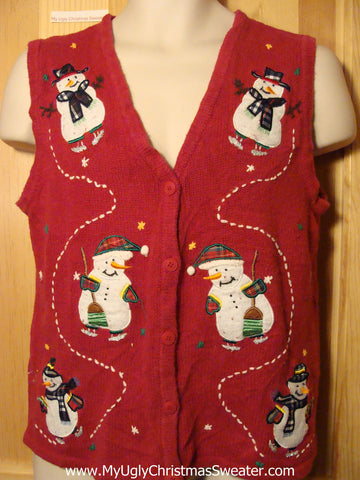 Tacky Ugly Christmas Sweater  Vest  with Skating Snowmen Two Sided Design(f329)