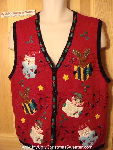 Tacky Ugly Christmas Sweater Vest Carolling Elves and Santa (f32)