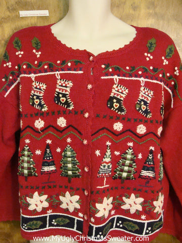 Cheap Ugly Christmas Sweater Cardigan with White Poinsettias