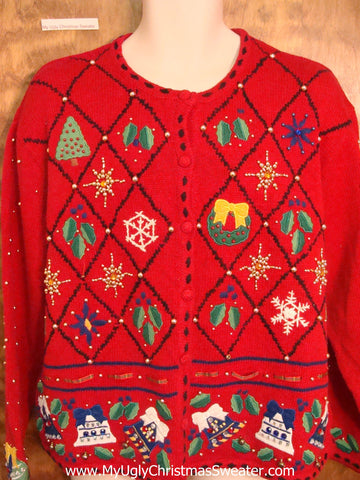 Diamond Grid of Color Cheap Ugly Christmas Sweater