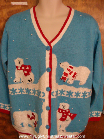 Best Baby Blue Ugly Christmas Sweater with Polar Bears