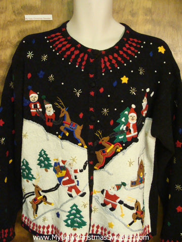 Santa and Reindeer 2sided Ugly Christmas Sweater