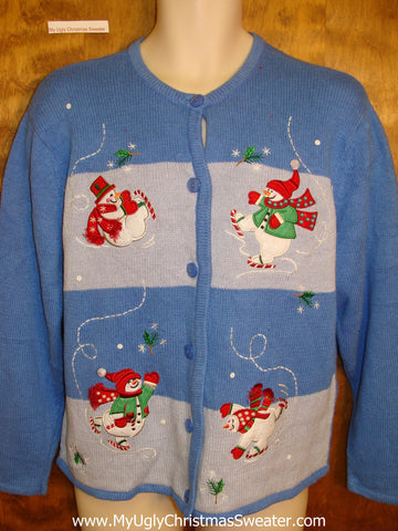 Ice Skating Snowmen Cheap Ugly Christmas Sweater
