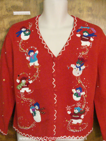Ice Skating Snowmen Friends Ugly Christmas Sweater