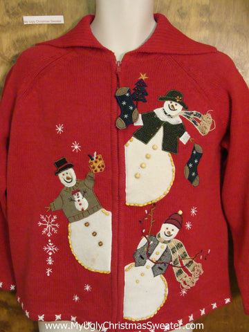 Snowman Trio Cheap Ugly Christmas Sweater