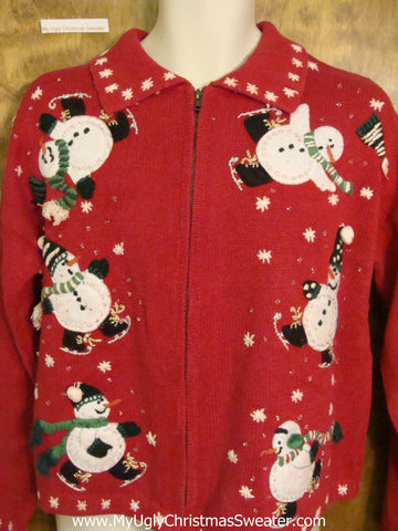 Tumbling Snowmen Cheap Ugly Christmas Sweater