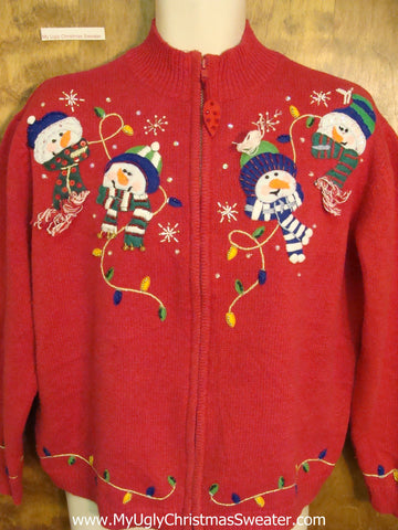 Foursome of Snowmen Cheap Ugly Christmas Sweater
