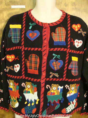 Teddy Bears, Heart, and Mittens Tacky Christmas Sweater