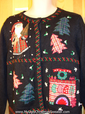 Tacky Ugly Christmas Sweater Crafty Plaid Festive Fireplace, Santa, and Trees (f332)