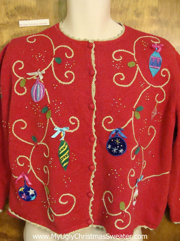 Cheap Ugly Christmas Sweater with Bright Ornaments
