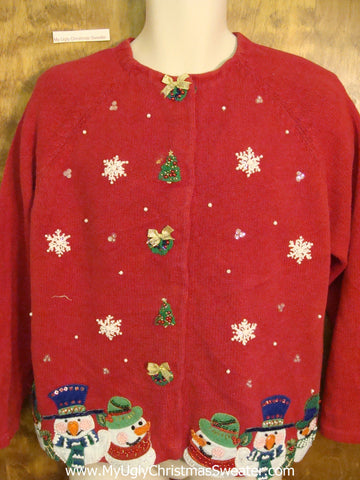 Carrot Nosed Snowmen Cheap Ugly Christmas Sweater