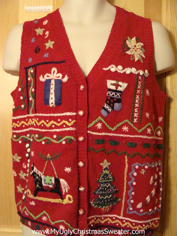 Tacky Ugly Christmas Sweater Vest Crafty Shapes and Decorations Horse, Gift, Tree, Candy Cane, Poinsettia, Stocking(f333)