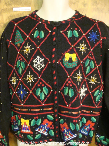 Horrible Diamond Grid Cheap Ugly Christmas Sweater