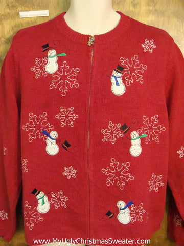 Windy Day Snowmen Cheap Ugly Christmas Sweater