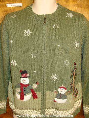 Cheap Green Ugly Christmas Sweater with Snowmen