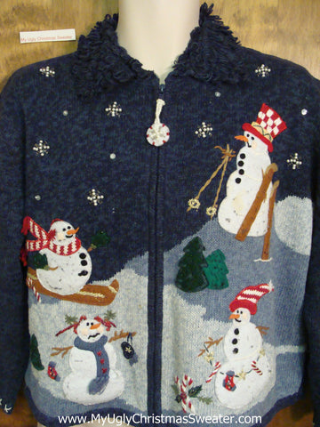 Skiing Snowmen Blue Cheap Ugly Christmas Sweater
