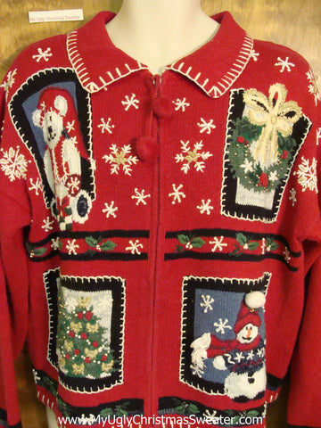 Crafty Red Cheap Ugly Christmas Sweater