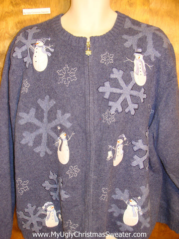 Cheap Ugly Christmas Sweater Cute Snowmen XXXL