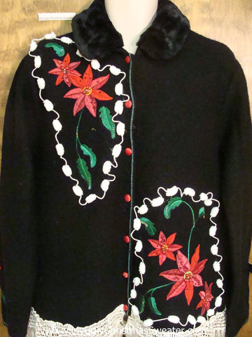 Poinsettias and Pom Poms Cheap Ugly Christmas Sweater