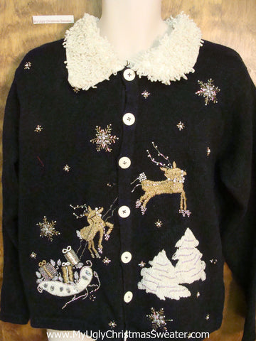 Golden Reindeer Cheap Ugly Christmas Sweater