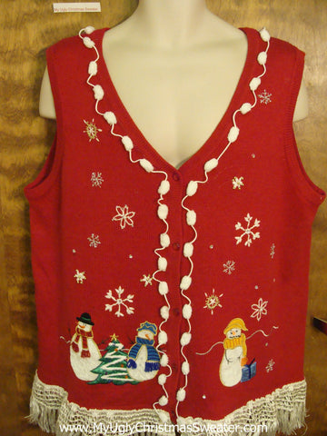 Vest with Pom Poms and Fringe Cheap Ugly Christmas Sweater