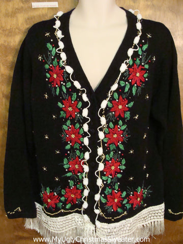 Poinsettias and Fringe Cheap Ugly Christmas Sweater
