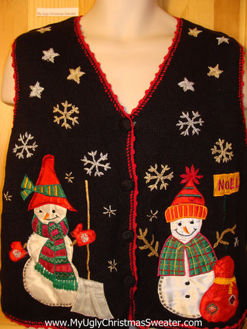 Tacky Ugly Christmas Sweater Vest Snowmen in a Winter Wonderland (f336)