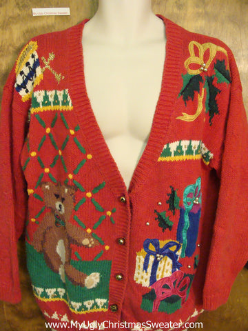 Teddy Bear and Toys Cheap Ugly Christmas Sweater
