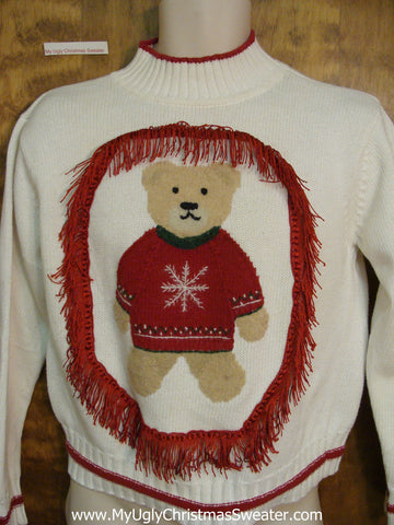 Cute Teddy Bear with Fringe Ugly Christmas Sweater Pullover