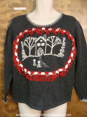 Cheap Ugly Christmas Sweater Pullover with Pom Pom Accents