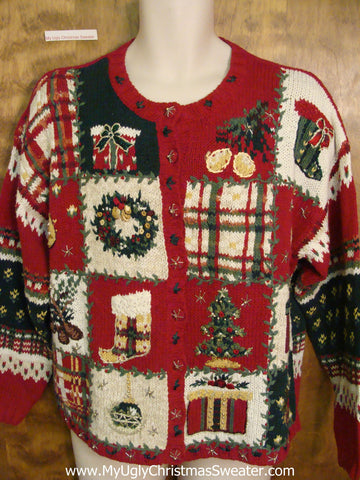 Two Sided Horrible Cheap Ugly Christmas Sweater