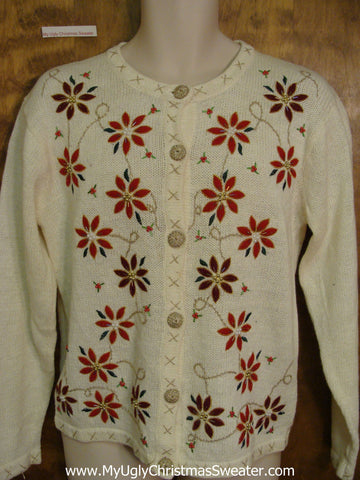 Tacky Poinsettias Cheap Ugly Christmas Sweater