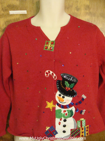 Happy Snowman Cheap Ugly Christmas Sweater