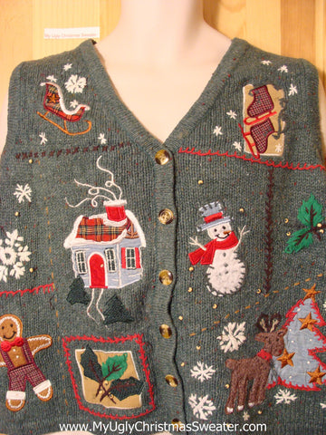 Tacky Ugly Christmas Sweater with Grid of Decorations Skates, House, Snowman, Ivy, Gingerbread Man, Reindeer, Snowflakes, and Tree  (f337)