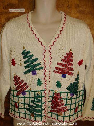Plaid Trees 2sided Cheap Ugly Christmas Sweater