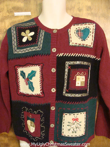 Cheap Crafty Ugly Christmas Sweater with Padded Shoulders