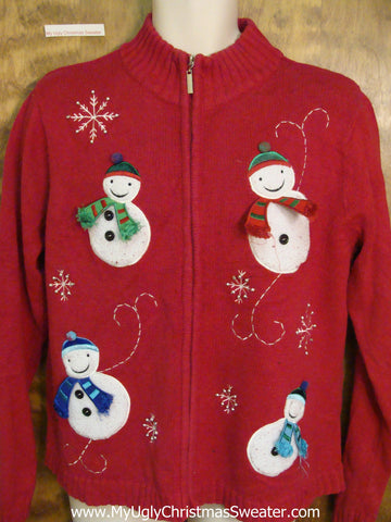 Four Happy Snowmen Cheap Ugly Christmas Sweater