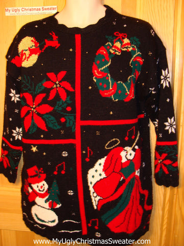 Tacky Ugly Christmas Sweater 80s Classic with Angel, Snowman, Poinsettias, Wreath, and Santa and Reindeer (f33)