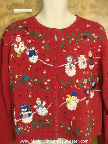 Cross Stitch Snowmen Horrible Christmas Sweater