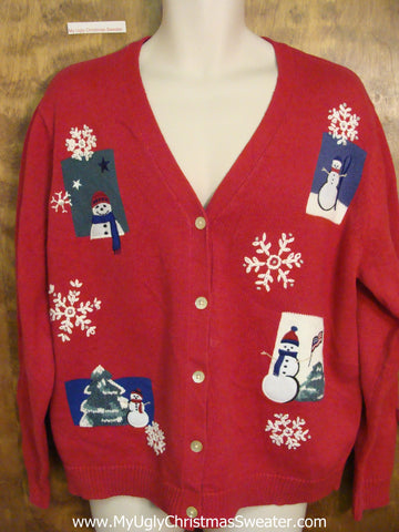 Snowmen and Snowflakes Horrible Christmas Sweater