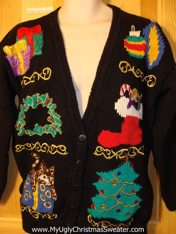 Classic 80s Tacky Ugly Christmas Sweater with Cat on Top of a Gift (f340)