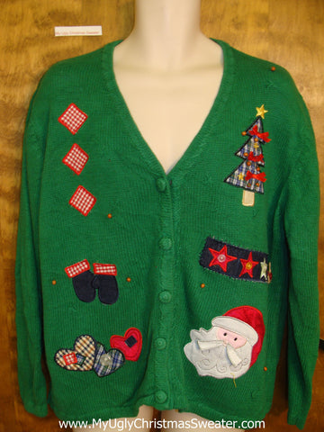 Bright Green Plaid Themed Horrible Christmas Sweater