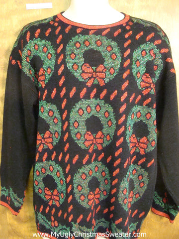 Eye Numbing Wreaths 80s Horrible Christmas Sweater Pullover