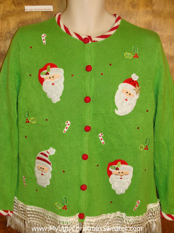 Lime Green Horrible Christmas Sweater with Fringe