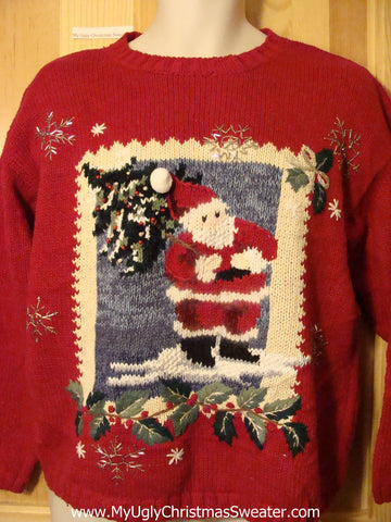 Tacky Ugly Christmas Sweater with Santa (f341)
