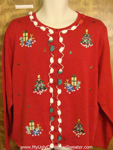 Horrible Red Christmas Sweater with Pom Pom Trim
